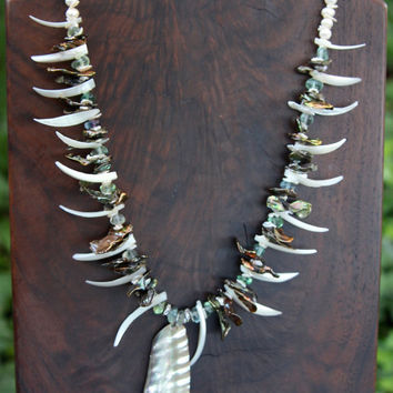Spiky Shells and Silver Pearls Necklace w Abalone Pendant Large Grey Cornflake Pearls w Fluorite Gemstone Jewelry