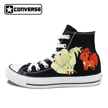 Pokemon Go Converse All Star Black Shoes Women Men Ninetales Rapidash Ponyta Vulpix Custom Design Hand Painted Canvas Sneakers