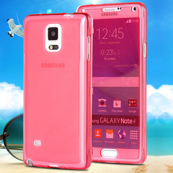 Note 4 New Fashion Full Body Transparent Flip Cell Phone Case For Samsung Galaxy Note 4 N9100 TPU Gel Rubber Crystal Clear Cover