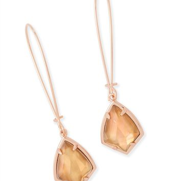 Kendra Scott Carinne Brown Mother of Pearl Rose Gold Drop Earrings