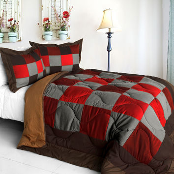 Hot Cytheria Quilted Patchwork Down Alternative Comforter Set in Full/Queen Size