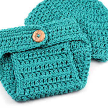 Teal Crochet Diaper Cover and Hat Set // Newborn Size // Crochet Photo Prop // Hat and Diaper Cover