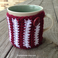 Texas A & M Crochet Coffee Mug Cozy - Aggie Coffee Cozy - Eco Friendly Coffee Cozy - Coffee Accessories - Maroon and White Cozy - Mug Cozy