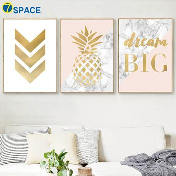 Geometric Pineapple Marble Quotes Wall Art Canvas Painting Nordic Posters And Prints Pop Art Wall Pictures For Living Room Decor
