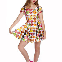 Girls Donuts Cap Sleeve Skater Dress