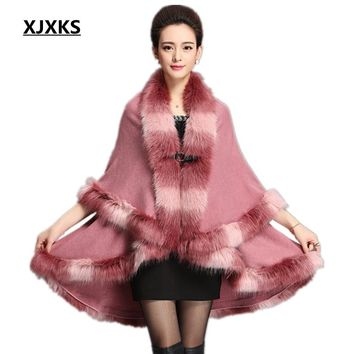 XJXKS cape shawl cardigan sweater 2017 new faux fur collar big yards loose bat sweater autumn/winter womens capes and ponchoes