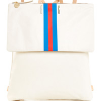 M'Onogrammable Cream Agnes Backpack with Blue and Red Stripes