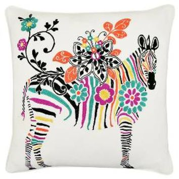 Vue Zebra Embroidered Decorative Pillow - White ... : Target