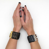 Leather Bracelet,  Women Leather Cuff in black, wide with macrame decoration NEW. SLC07