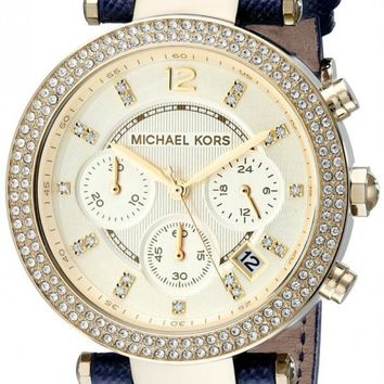 Michael Kors Parker Glitz Pave Bezel Navy Leather Women's Watch MK2280