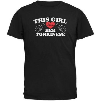 MDIGCY8 Valentines This Girl Loves Her Tonkinese Black Adult T-Shirt