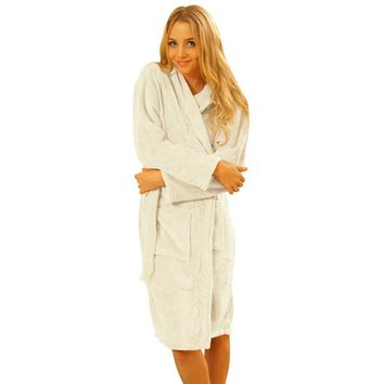 Winter Warm Robes Women Coral Fleece Long Night-robe