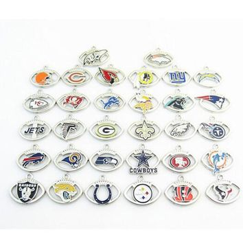 Hot Selling Mix American Football Team Logo Dangle Charms Pendant Fit DIY Bracelet&Necklace Jewelry For Fans 32pcs/lot
