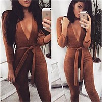 Bodycon jumpsuit romper Autumn party women jumpsuit 2016 fashion suede Deep v neck Long Sleeve jumpsuit overalls with belt