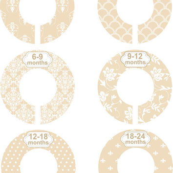 Custom Baby Closet Dividers Boy Girl Cream Damask Nursery Closet Divider Baby Shower Gift Baby Clothes Organizers Baby Nursery Organizer