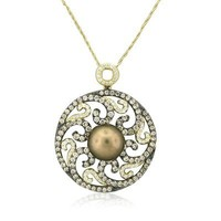 New Levian 14k Yellow Gold Diamond 10mm Pearl Pendant Necklace $5595