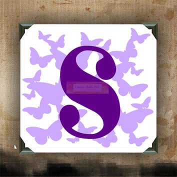 Butterfly Monogram - Painted Canvases - wall decor - wall hanging - names on canvas - initials on canvas - monogram canvas