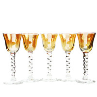 Sherry Glasses, Iridescent Orange, Twisted Stem, Italian Art Glass Stemware