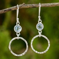 Blue topaz dangle earrings, 'Minimalist Circle Textures'
