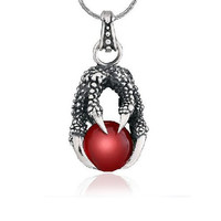 Red Ruby Alondra Silver Claw Necklace Gothic Jewelry for Guys (w/ SILVER CHAIN)