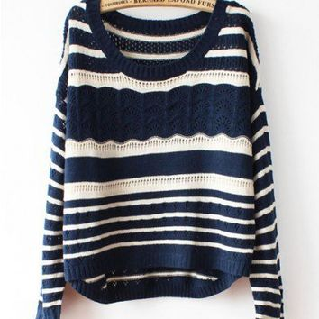 Navy Batwing Sleeves Sweater in Stripe Print