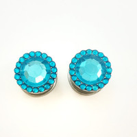 Blue jewel plugs / 2g, 0g, 00g, 5/8 inch / sparkle gauges / bling plugs / rhinestone gauges / screw on plugs / Blue gauges / wedding plugs
