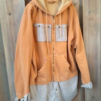 Funky Hoodie Sweatshirt, Comfy Refashioned Sweatshirt, Orange Hoodie, Weekend Wear, Weathered Cotton Sweatshirt, Flattering Sweatshirt