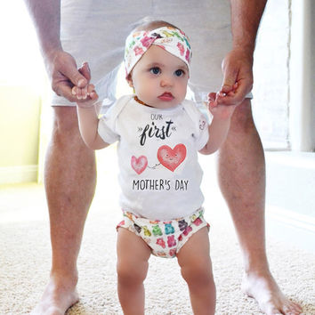 Newborn Baby boys girls letter Heart Mother's day Bodysuits Onesuit Infant Babies Bodysuit one-pieces Outfits Kids Clothing