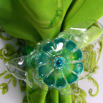 Turquoise and Lime Green Napkin Ring Set of 6, plastic flower, recycled art, Chihuly, table top, home decor, sea glass