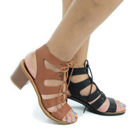 Hanson16V Open Toe Gladiator Corset Lace Up Stacked Heeled Sandals