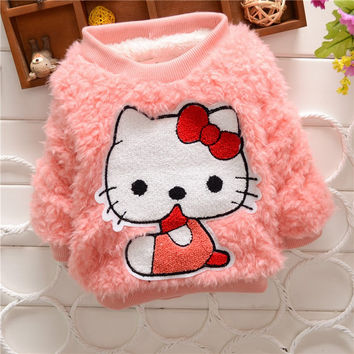 Baby Girl fashion sweater T Shirt Kids long Sleeve thick shirt Children Candy color warm winter sweater for 2-5 years