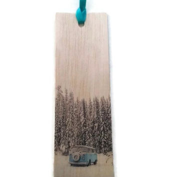 Wood bookmark - wooden bookmark - combi bookmark - combi van bookmark - woodland bookmark - handmade bookmark - book lover gift - book gift