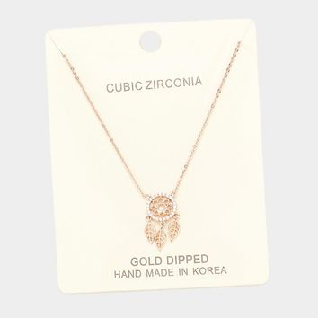 Gold Dipped Cubic Zirconia Dreamcatcher Necklace