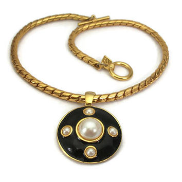 Signed Anne Klein Black Enamel Faux Pearl Cabochon Gold Tone Medallion Necklace Large Big Round Pendant - 17 inch Chunky Chain Toggle Clasp