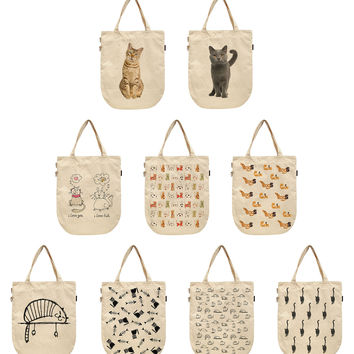 Women Cats Design Printed Canvas Tote Shoulder Bags WAS_39