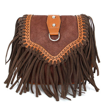 Retro Tassel Saddle Crossbody Bags For Women Faux Suede Vintage Fringe Women Messenger Small Tribal Purse Hippie Sling Handbag
