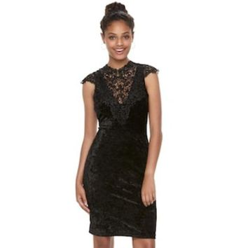 DCCKX8J Juniors' Almost Famous Crochet & Velvet Bodycon Dress | null