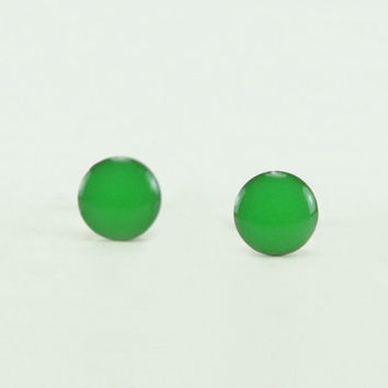 NEON GREEN Stud Earrings - Neon Green Earrings - Neon Green Ear Studs - Green Earrings Stud - Surgical Steel Post Earrings - 4mm / 6mm / 8mm