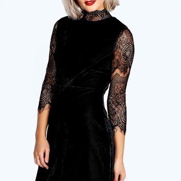 Riona High Neck Lace and Velvet Bodycon Dress | Boohoo
