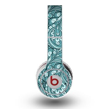 The Abstract Blue Feather Paisley Skin for the Original Beats by Dre Wireless Headphones