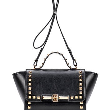 Black Stud Embellished Satchel Bag with Sling