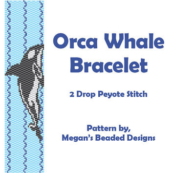 Beading Pattern - 2-Drop Peyote Orca Whale Bracelet Instant Download Design