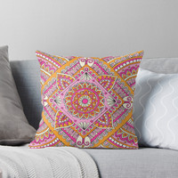 'Pink & Tangerine Diamond Mandala ' Throw Pillow by Sarah Oelerich