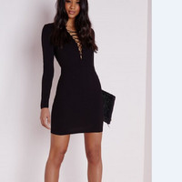 Black Mini Dress One Piece Dress [4981690116]
