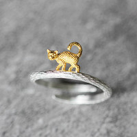 3D Cute Cat Ring, Sterling Silver Cat Ring, adjustable ring, kitty ring, kitten ring, animal ring,cat jewelry,gifts for her,cat lover gift