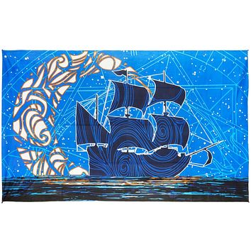 Cotton 3D Glow in the Dark Moon Ship Tapestry Wall Hanging Beach Sheet 60x90