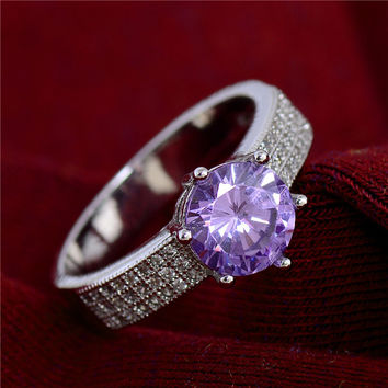 Women Wedding Jewelry Silver Rings Shining Purple Cubic zirconia CZ Diamond Ring Size 6/7/8/9 TB425-TB432