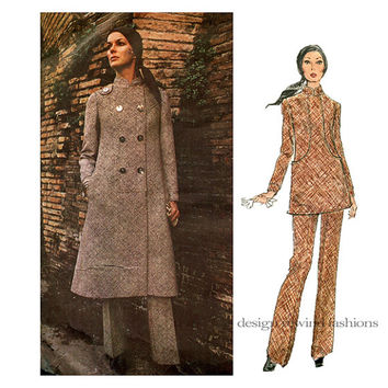 1970s VOGUE 2454 COAT PATTERN Top & Pants Pattern Tunic Top Galitzine Vogue Couturier Design Bust 32.5 Size 10 Womens Sewing Patterns