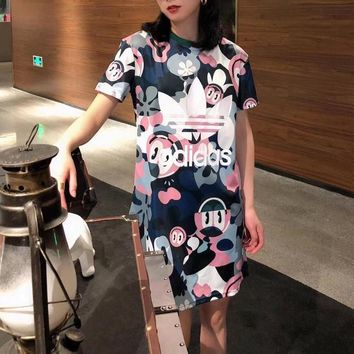 """Adidas"" Women Casual Fashion Clover Letter Multicolor Print Short Sleeve T-shirt Mini Dress"