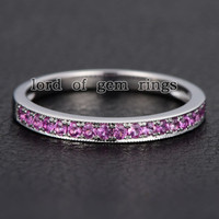 Pave Pink Sapphire Wedding Band Half Eternity Anniversary Ring 14K White Gold